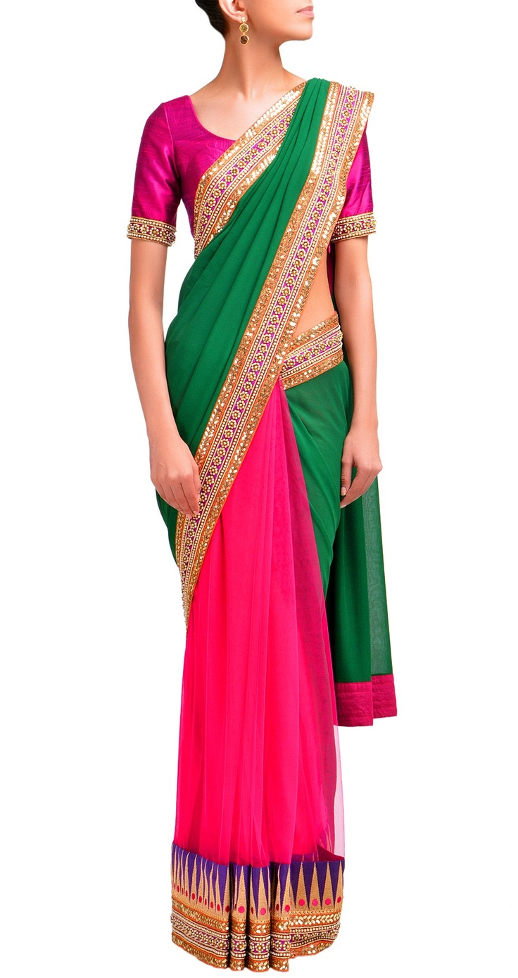 Emerald green and fuschia pink, half net and half georgette sari with temple border. - sabyasachi