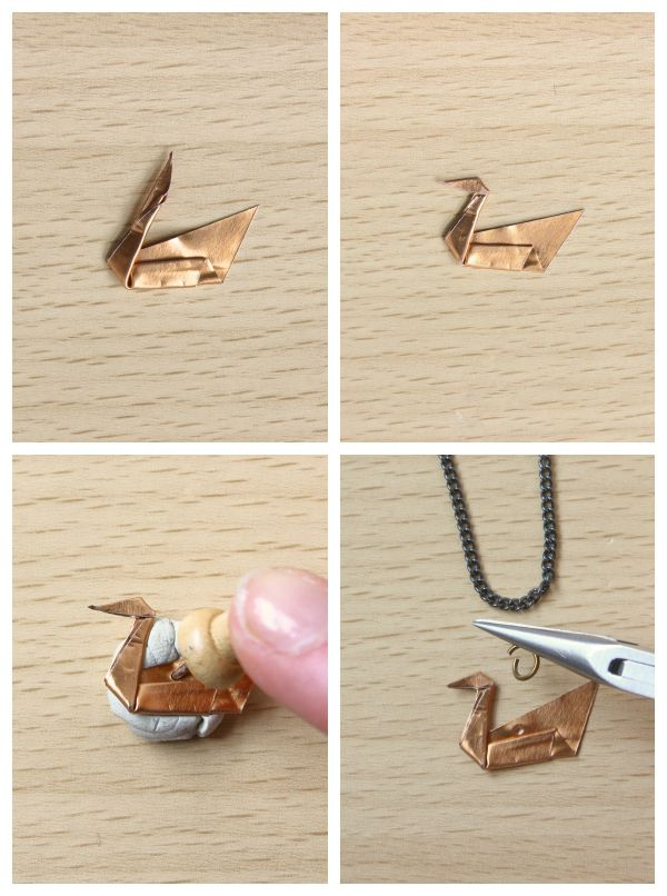 Origami Metal Swan Necklace - use this idea to make dainty charms/pendants and earrings!