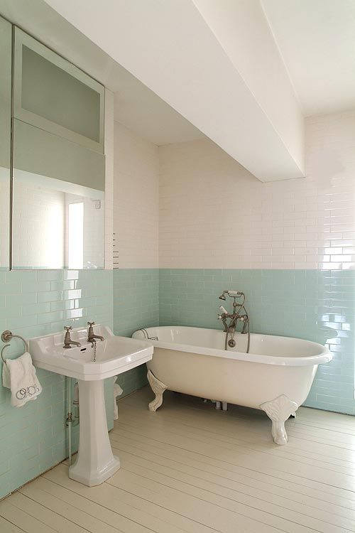 'Surf' green & white glass subway tile... Love the two tone walls, would be nice with grey and white too.