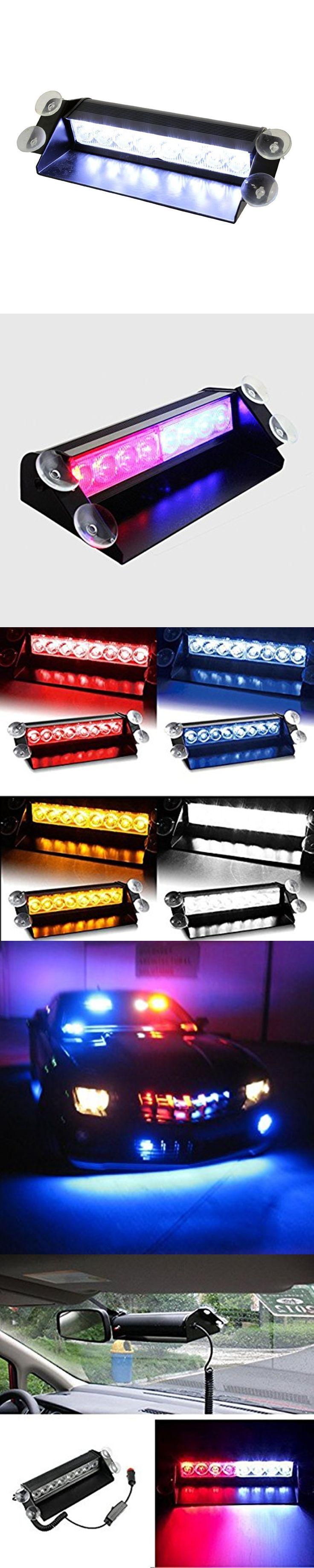 Car Styling 8 LED Colorful Warning Caution Van Truck Emergency Strobe Light Lamp Bar With Sucker On Windsheild