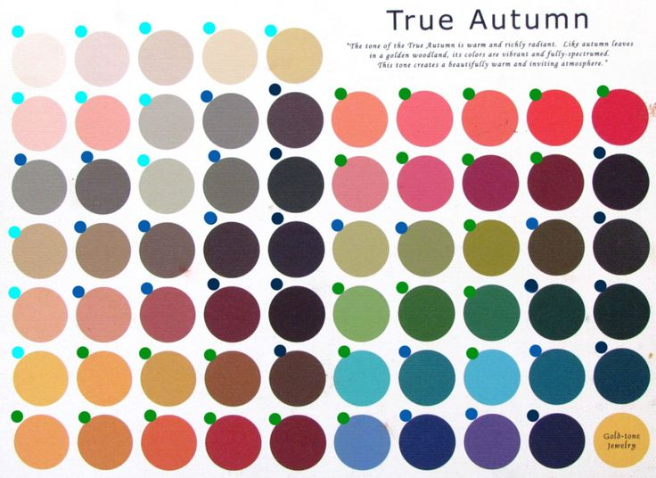 """Голубым я выделила светлые цвета, темно-синим - темные, просто синим - нейтральные, зеленым - яркие.  _________________________________Красота, вдохновленная природой - Работа с палитрой сезона. Книга """"Мода, цвет, стиль"""". Палитра Теплая Осень."""