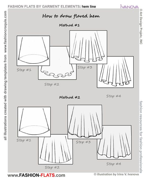 how to draw hem line fashion flats