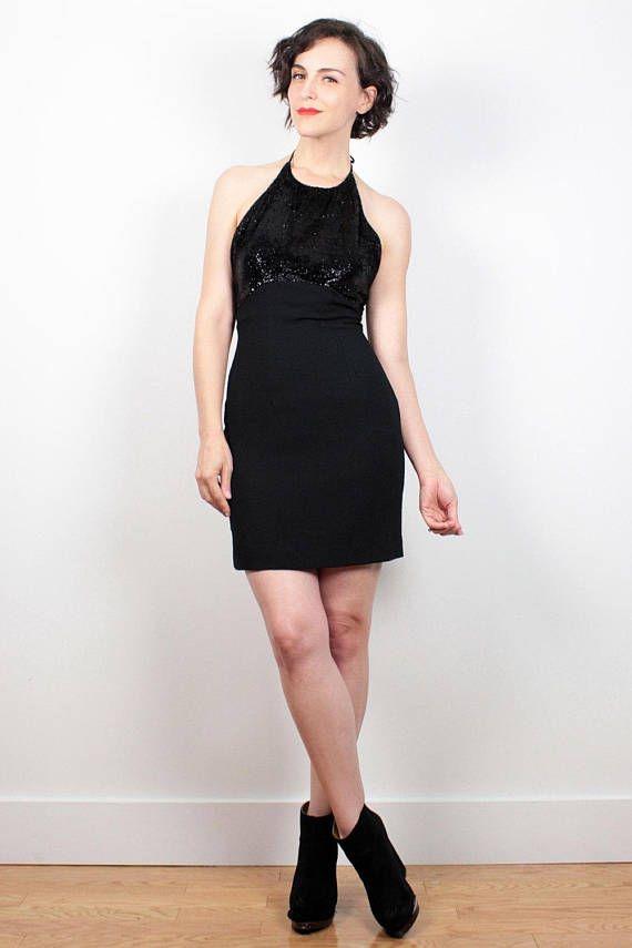 Vintage Cynthia Rowley Dress 1990s Dress Black Textured Metallic Halter Dress 90s Dress Backless Dress Micro Mini Dress XS S Extra Small 4 #1990s #90s #etsy #vintage #cynthia #rowley #mini #halter #sequin #black #dress