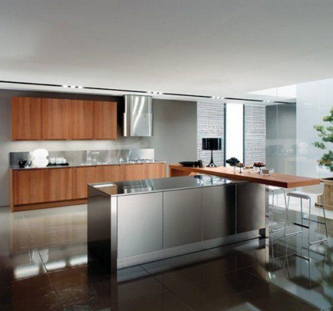 cuisine avec îlot de design moderne en acier inoxydable et bois