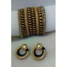 Bangle set and chandbali ear-rings made of silk thread
