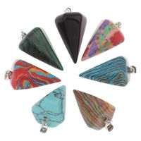 Gemstone Pendants Jewelry, with iron bail, Spike, platinum color plated, different materials for choice, 15x25mm, Hole:Approx 3x6mm, 5PCs/Bag, Sold By Bag $4