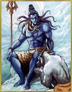 Shiva- Hindu myth: the destroyer god. he depicted as a blue being, wielding a trident and having a snake around his neck. his vehicle is a white bull. he is part of the Trimurti trinity along with Vishnu and Brahma.