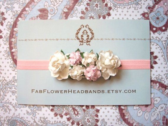 Ivory and Pink Baby Headband  Floral by fabflowerheadbands on Etsy