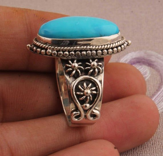Natural Green Copper Turquoise AAA+Quality Gemstone Ring 925-Antique Silver Ring,Middle Finger Ring,Sterling Silver Ring Gift Item Ring