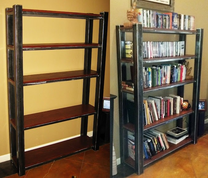 Ive Mentioned How Talented My Boyfriend Ismy New Bookshelf Welded Metal Frame Stained Red Oak Shelves And Its The Only One It
