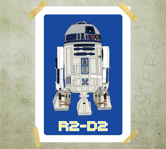 R2D2 Star Wars poster print A3 by MixPosters on Etsy, $21.00