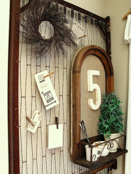 Funky Junk Interiors: Display board from old bed springs.                                                                                                                                                     More