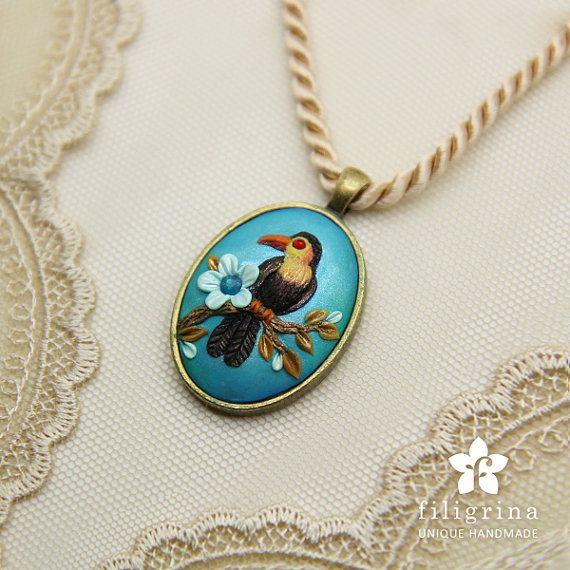 SPRING BIRD blue pendant brass tone oval metal bezel by Filigrina