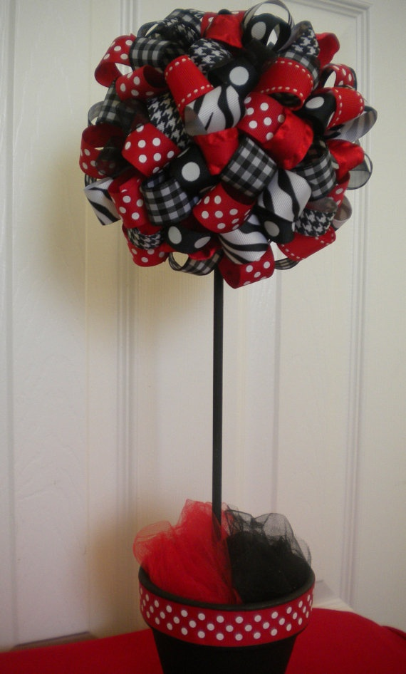 Lady Bug Ribbon Topiary in Red & Black for new baby by DaisyTags, $36.00