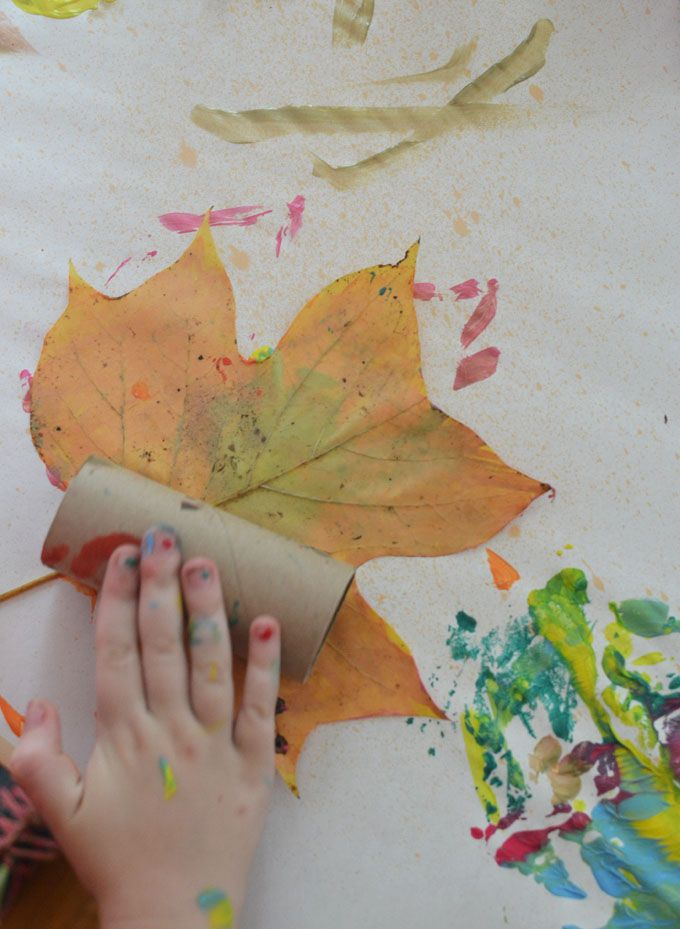Process Art Leaf Painting With Kids Process Art Preschool Toddler Art Projects Preschool Art Projects