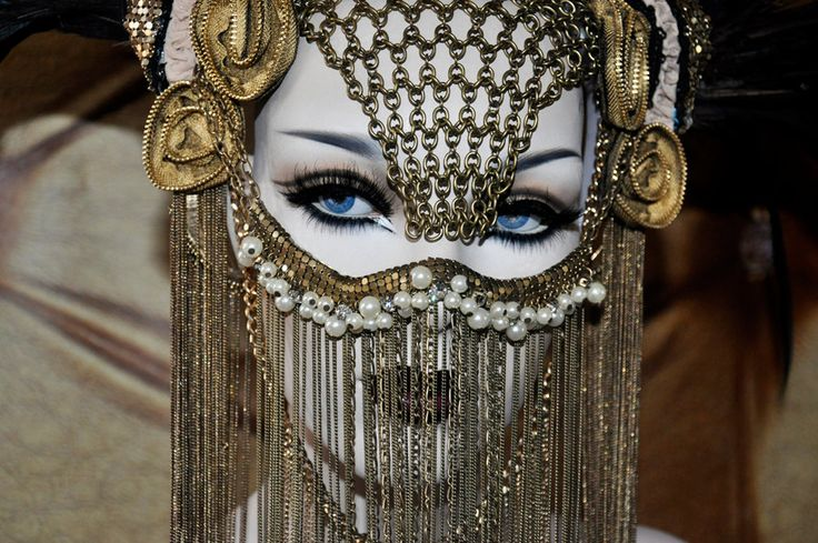 MADE TO ORDER Chain Face Sci-fi Fantasy Burning Man Zipper Black Gaga costume headdress feather headpiece wig cosplay gas mask steampunk