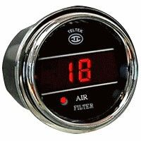 """Air Filter Indicator Gauge with Sensor for Trucks and Cars  Product Description  The Truck and Car Air Filter Indicator Gauge accurately monitors the temperature outside of your automobile, truck or semi.  Teltek USA gauges are best in class and backed by over 20 years of design and manufacturing.  Details      Made in the USA and secured with a Lifetime Warranty     Programmable change filter light.  Normal is set to 16 or 18 """"H2O, but gauge can be set anywhere from 0-40""""H2O     After…"""