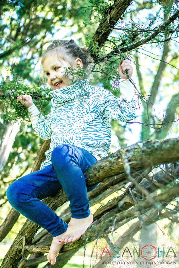 Organic long sleeves tunic for girls - funky animal print