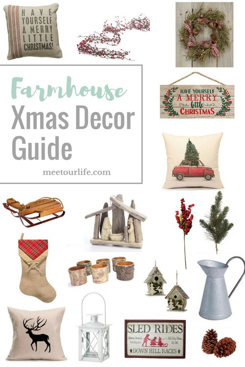 Farmhouse Xmas Decor Guide - Are you looking for some great Farmhouse Christmas decor? Then check out this shopping guide! Click through or repin for later. www.meetourlife.com   beautiful Christmas Decor   farmhouse Christmas  