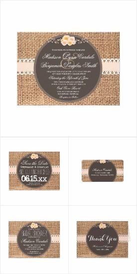 Rustic Country Burlap Lace Wedding Invitation Set