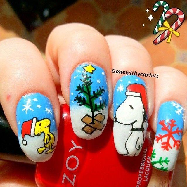 Christmas Charlie Brown Snoopy nails nailart  withscarlett  #nail #nails #nailart