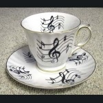 Music Notes Tea Cup and Saucer MADE IN USA