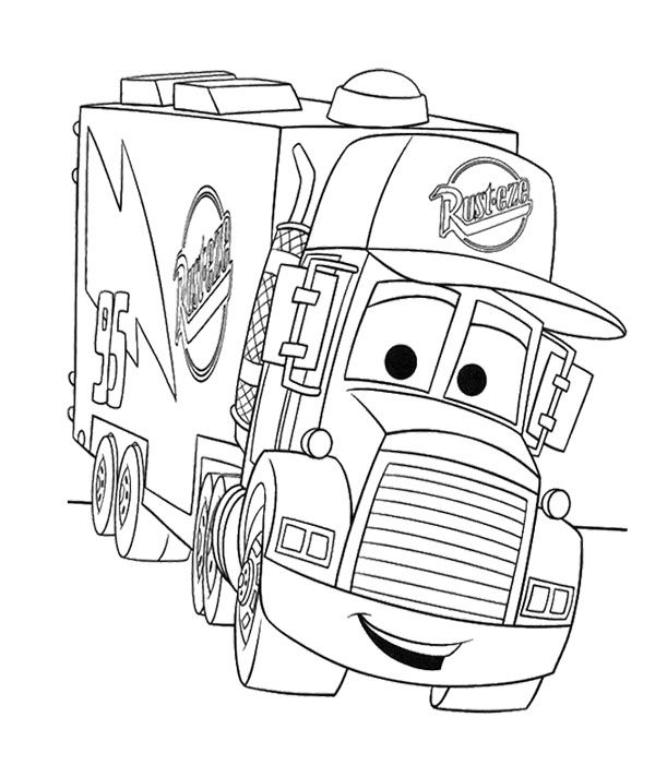 Cartoon Cars Truck Coloring Page