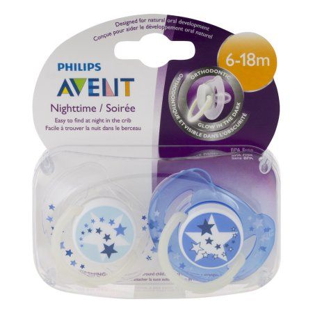 Philips Avent Nighttime Orthodontic Pacifiers 6-18m - 2 CT, Beige