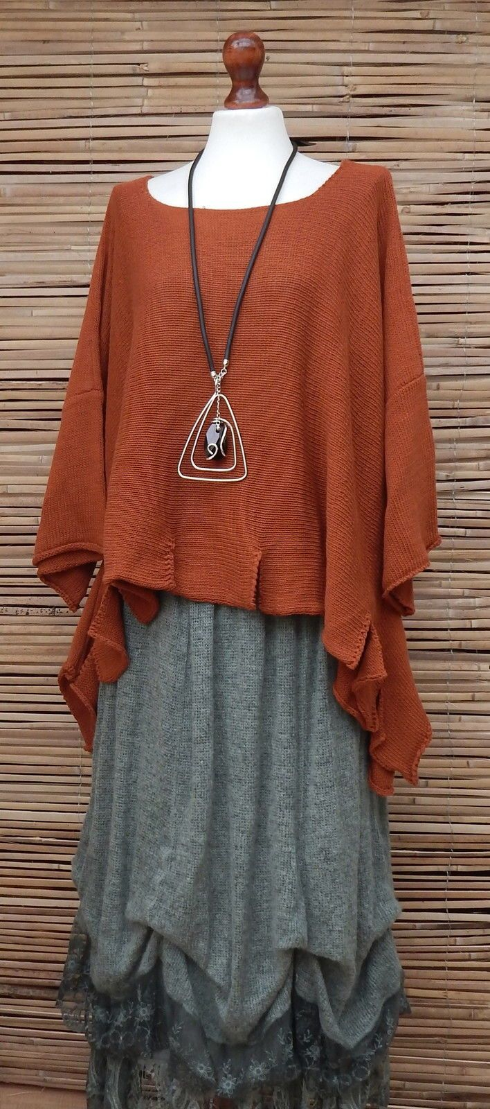 Lagenlook Knit Quirky Boho Hippy Eccentric Jumper Rust XL XXL XXXL OSFA Italy | eBay