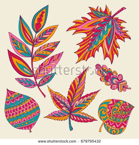 Collection of autumn leaves of different trees (oak, linden, maple, acacia) hand draw in vector. Decorative element can be used for design of stationery (notepads, paper, folders, etc.)