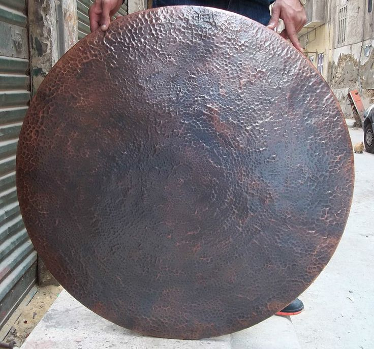 "Egyptian 38"" Copper Round Dinning Table Top Old Patina Finish Hammered in Egypt"
