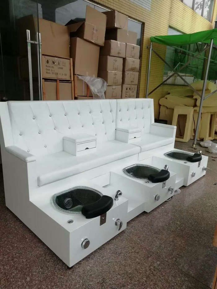 Customized Double Seats Pedicure Chair Foot Spa Massage Bench Manicure Station Beauty Spa Equipment Hair Pedicure Station Spa Pedicure Chairs Manicure Station