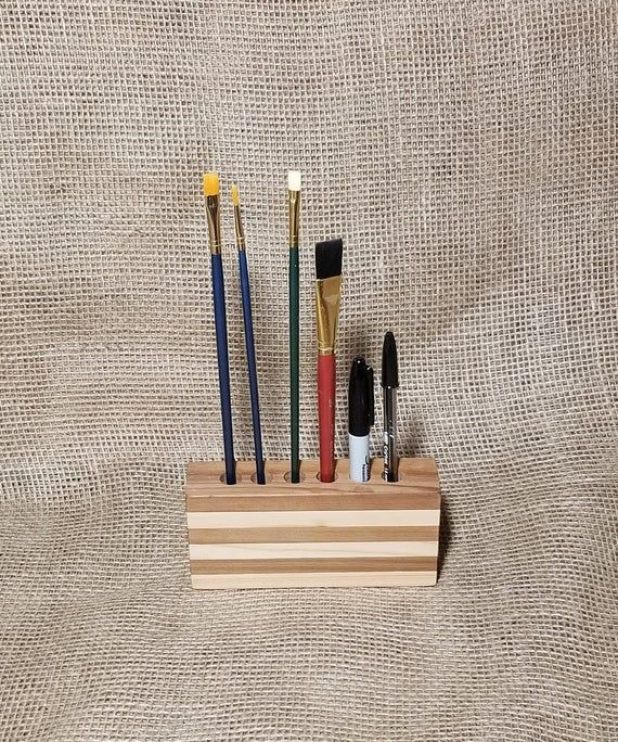 Paint Brush holder 6 hole Wood pencil holder from ...