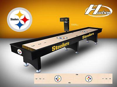 custom hudson pittsburgh steelers shuffleboard table at basement pinterest. Black Bedroom Furniture Sets. Home Design Ideas
