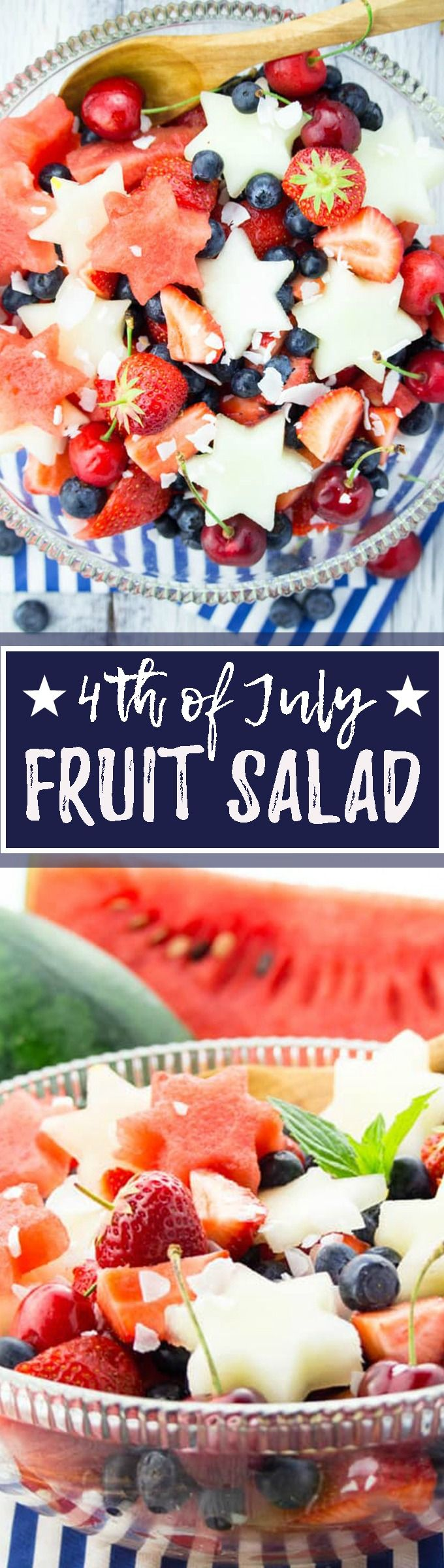 This 4th of July fruit salad with watermelon, honeydew, cherries, and blueberries is not only patriotic but also easy to make, healthy, and so delicious! <3 | veganheaven.org