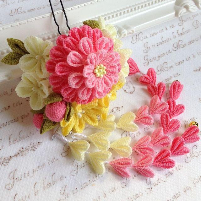つまみ細工*小花の髪飾り