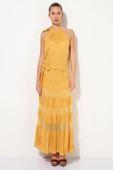 Silhouette By Angel Kadın Elbise Hardal