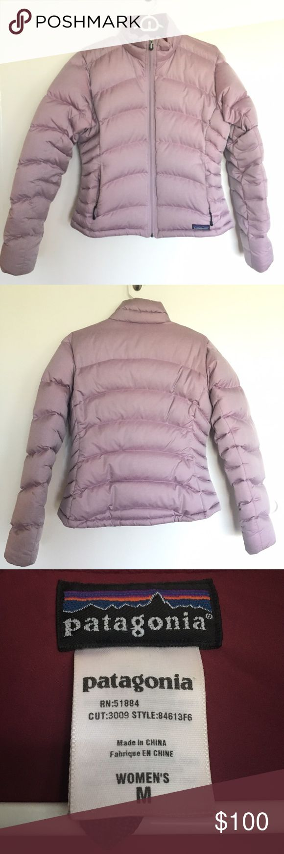 Patagonia Women's Puffer Down Jacket Size Medium, pastel pinkish purple in color, maroon colored lining inside, fleece material on the inside neck area. It has one inside zippered pocket, two outside zippered pockets, two draw-cords around the inside waist area to seal out the wind, 85% goosedown insulation. Slight darkening of material on the inside waist area from rubbing against my jeans, see last picture. Otherwise, in excellent condition, no other stains, rips or tears. Patagonia…