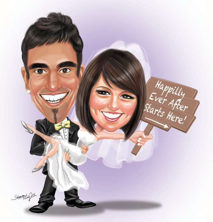 High detailed caricature illustration of the bride and groom!    You will receive the ready to print files for a beautiful caricature illustration created specifically for your special day.     Upon final approval of the caricature invitation, you will receive a folder with 2 high resolution files to prepare you for any printing situations:     1 Psd file (For printing.)  1 Jped file (For uploading.)    How to order:  Please purchase this listing to get start!