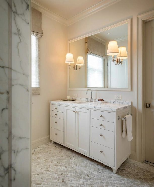 Benjamin moore revere pewter traditional bathroom - Traditional bathroom mirror with lights ...