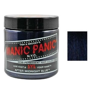 It's going on right now. Black on top, midnight blue underneath :) Manic Panic Midnight Blue