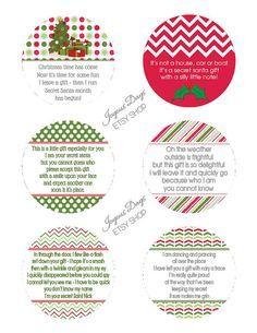 secret santa gift tags printable free - Google Search