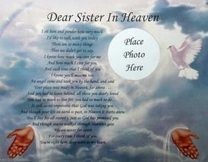 Dear Sister in Heaven Memorial Poem in Loving Memory | eBay