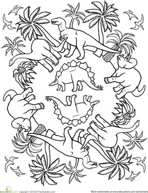 First Grade Dinosaurs Mandalas Worksheets: Pattern Coloring Page: Dinos!