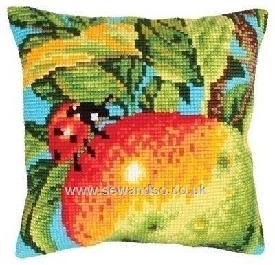 Buy Ladybug on the Apple Cushion Front Chunky Cross Stitch Kit Online at www.sewandso.co.uk