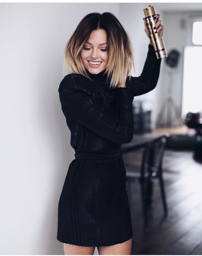 Kleid v ausschnitt mit langen armeln
