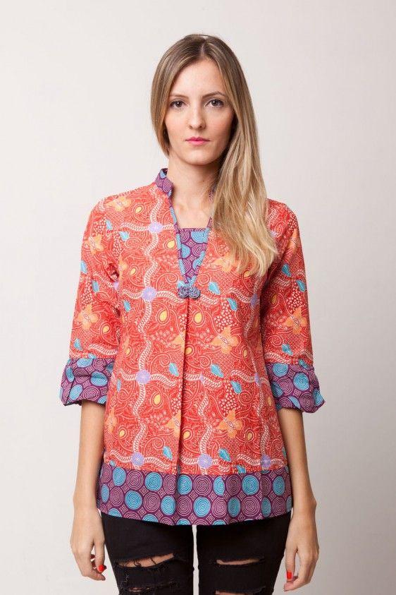 Red Batik Shanghai Blouse | BrandClozet