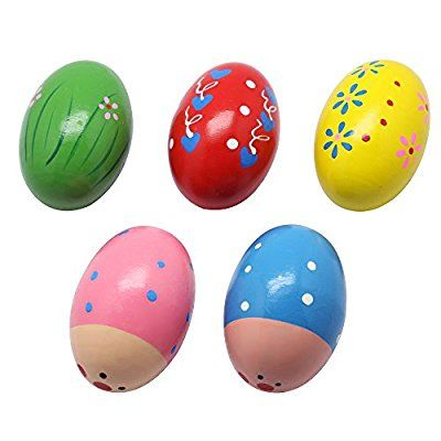 Homgaty 2X Child Kids Egg Maracas Music Shaker Wooden Rattle Percussion Instrument Toy Perfect Gift for Kid