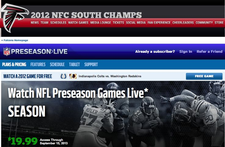 "Watch all Falcons preseason games LIVE on your computer or tablet""  For more information go to http://www.atlantafalcons.com/news/article-1/Watch-the-Falcons-with-Preseason-Live-Game-Rewind/fb7433d9-0d75-486b-bba8-c23ea56454b0 #Riseup"