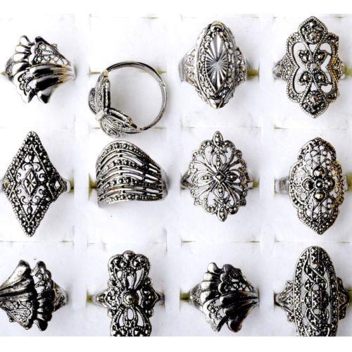Lot-de-10-20-30Pcs-Bijoux-Femmes-Fleur-millesime-plaque-argent-Anneau-Bague